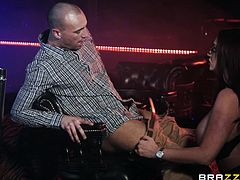 Even at her age this hot British milf is still one of the most famous women at the strip club. All the men want to tip her because she has massive boobs. She needed some big dick, so she sucked off one of the men in the club, and he got to play with her huge melons.