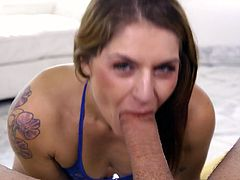 Red head Fallon West gives the best ever deepthroat blowjob and gets a mouthful of sperm