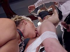 First, this busty blonde milf will lick Piper's pussy clean, before her dominant lover, Ramon Nomar, will eagerly drill the blindfolded babe's juicy cunt as deep, as possible. This hot threesome is something that worth seeing. Join and enjoy!