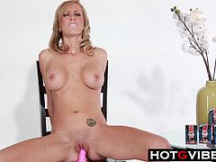 Sexy blonde Brett Rossi fingers her shaved pussy with her cockring vibrator and rides her dildo cowgirl