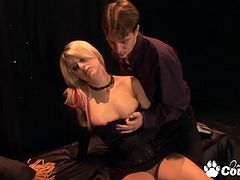 Tiny tits blonde Lacie Heart face fucking and gets her mouth full of cum
