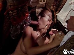 Sex addicted Trina Michaels Double Penetrated by giant cock and gets sperm load of three cocks on her face