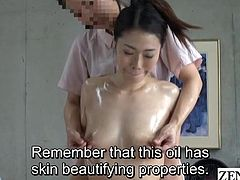 Older Japanese married woman with beautiful pale skin has her first massage featuring sensual nipple stimulation followed by being stripped for direct treatment of her clitoris subtitled in English