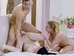 Britney Amber and Sadie Blake both get to ride his dick