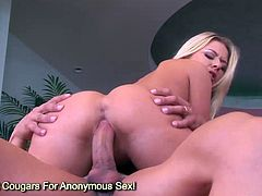 Big tits blonde Riley Evans jumping on huge cock and gets jizz on her big breasts