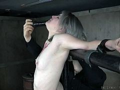 Dude pushes metal hook in tight pussy of tied up blonde Bambi Belle