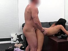 Skinny slut in the casting office gives a BJ and gets fucked