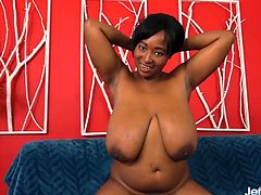 Ebony BBW shows off her big boobs bully ass and chubby pussy She rub and finger her pussy Then takes a real thick dick in her mouth and later takes it in her pussy and gets fucked good