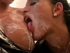 Nasty Lucy Belle and her friends like to pleasure a young guy
