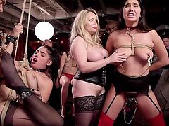 the women are naked and tied up, ready to take torture, cocks, and...