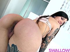Tiny brunette babe Luna Lovely is here on Swallowed to have that pretty little face fucked! She deepthroats and gags until she finally receives her treat - a huge cumshot in her mouth!