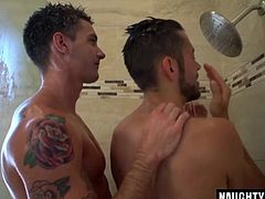 Hot gay guys shower together and fuck