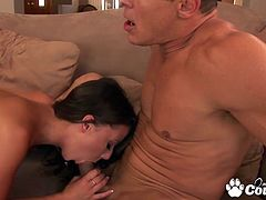 Natural tits Penny Flame jumping on massive cock and gets cumshot on her pretty face