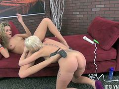 Lesbian Joslyn James and her sweetheart playing with a strap-on