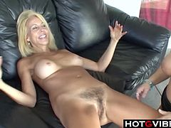 Old blonde lesbian has her hairy pussy licked and fingered by a young bbw brunette