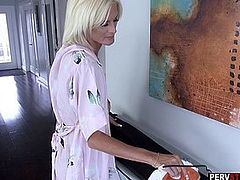 Blonde mature stepmom in hot lingerie sucks a long dick