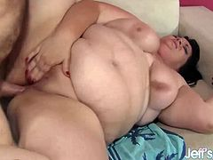 Brunette BBW gets her tits sucked good Then gets her pussy and asshole fucked deep and good in various positions She gets facialled in the end