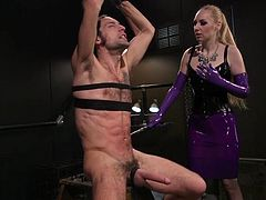 Dj likes pain and enjoys different bdsm games. He is one really bad boy and needs to be brutally punished for his misbehaving. Meet Delirious Hunter, the blonde busty mistress that is ready to shove her strapon deep into Dj's tight asshole... Hot stuff!