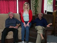 Young blondie is having dirty sex fun with two old farts