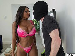 This dude's in big trouble now. Busty diamond caught this creep in her bedroom and now she needs to punish him. The thick black goddess hovered over him and smothered his face with her round and brown butt cheeks.