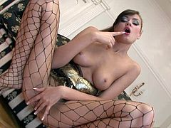 You rarely see a beautiful young lady like this brunette hottie Lada who are in this adult industry. She also got the freshest privates to flaunt all over on her videos and here she is stripping off her lovely outfit as she wore a fishnet pantyhose as she spreads her unshaved pussy in front of the camera in closeup.