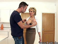 The ever lustful Lady-Sonia finds herself all alone with a young hot stud in her kitchen. This CFNM scene will have you cumming in no time. Watch Lady Sonia give her thick cocked friend a handjob and blowjob he won't soon forget.