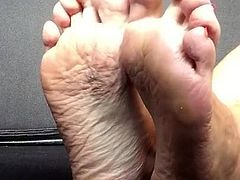 Cd POV naked soles & foot with red toe nails again