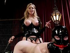If you like black latex, high heels, whips and sex toys, then join us right away. Busty blonde milf will punish & use her submissive sex slave, and you can join them, and enjoy! Hot stuff!