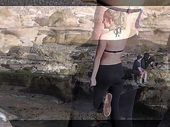 Blonde Teen in See-Through Black Leggings and Pink Bikini To