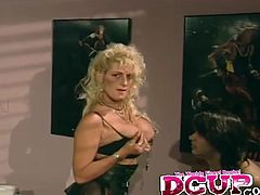 Charming blonde fingered pussy smashed hardcore in retro shoot