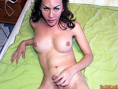 Tall Thai shemale Lanta gets naked and exposes her nice boobs and shaved cock. Lanta lies down on her bed and starts her masturbation session. Lanta jerks off and looks into your eyes. Exciting!