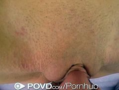 POVD Petite blonde Elsa Jean wraps pussy lips around big dick