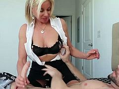 Milf payton hall loves jerking cocks and enjoys the big load. No her man just woke up and she knows its time to have some cock fun.