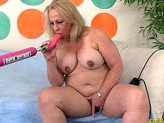 Sexy mature woman talks about her body She gets naked and rubs her pussy She sucks a fucking machine dildo Then rides it inside her pussy in different speeds and positions