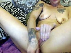 Inked housewife Daisy with pierced tongue ass fucking