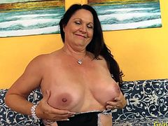 Sexy old woman introduces herself She shows her juicy tits and mature pussy She rubs her pussy Then sucks a real cock Then gets her pussy fucked deep and hard