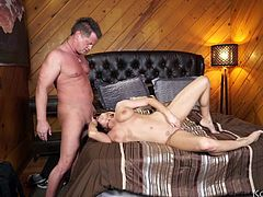 Throat fucking Christie Stevens as foreplay for sex