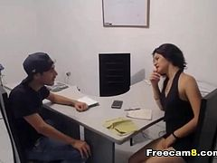 Sexy office mate getting a hard bang from her boss. Watch her pussy gets fuck hard in different positions. See this office boss loving what he gets from her sexy employee.See her pussy getting drilled deep with this huge dick which she loves and enjoys.Hot babe in secretary uniform is fucking horny and wanting some oral sex with her boss. Watch how she teases her boss with a vibrating toy inside her pussy making her more horny and makes her pussy wet. See how great she handle a big hard cock with her hot mouth and gentle hands giving her boss nice suck and jerking his cock with her hot gentle