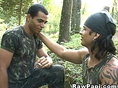 Jeorge went out with his fellow colleague who is also a military officer to enjoy some fresh air, relaxing in the woods, smoking and they began to touch each other making them become horny and arousing their sexual orgy. Jeorge took his hand and guided him into the bareback anal action. It was their chance to experience something truly amazing, something jeorge has always fantasized.  Jeorge sucked the dick of his friend making him so horny that he couldn't wait to drill the sexy hot ass, fulfilling his sexual orgy. He fucked Jeorge so hard and deep until he began to cum.