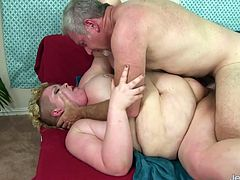 Chubby slut gets her tits sucked kissed on her belly and ass She gives an amazing blowjob Then gets her pussy pounded in many positions He cums in her mouth