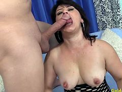 Mature brunette woman gets her tits sucked and gives a nice blowjob Then gets her pussy fucked deep and hard in many positions She takes cum in mouth