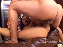 Amazing hot and beautiful Asian babe gives great blowjob
