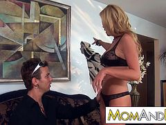 MILF Nicole Sheridan blows guy and let him shoot his load in her face