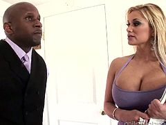Always sex-hungry busty blond milf Shyla Styles hooks up with black client