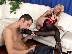 Blonde sweetie rides a big dick