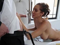 Looks like this busty milf craves for attention and needs a hard dick for this everning, and this is the reason why she tries to seduce her husband's bodyguard. Her plan was successful and now she is getting his long cock deep inside her wet cunt...