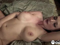 Massive boobs Melissa Lauren spoon banged by meat shaft to get cumsho over her stretched pussy