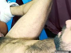 Finger banged otter deepthroating bears cock