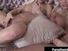 Busty Blonde Babes Puma Swede & Malibu Dildo Bang In Heels!