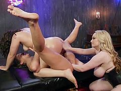 This hot busty milf, Aiden Starr, is ready to teach her new lesbian lovers some new tricks and satisfy them to the fullest. Join and enjoy hot lesbian threesome and kinky anal fisting... Relax and have fun!